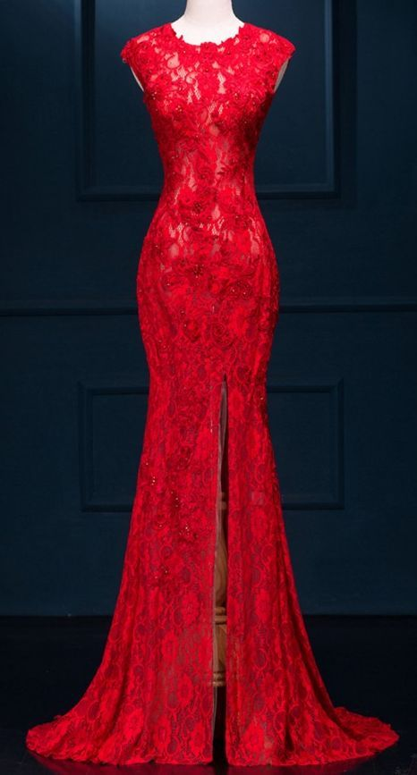 Long prom dress, mermaid prom dress, sexy red lace prom dress, side slit prom dress, dresses for prom, evening dresses, formal dresses,PD190476