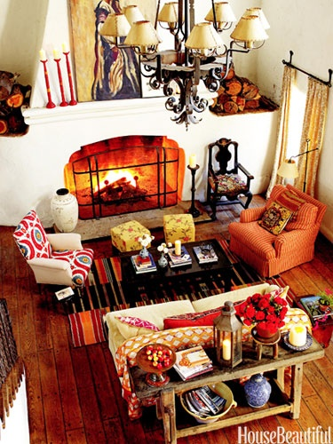 Don't over-coordinate. Design: Kathryn M. Ireland. Photo: Victoria Pearson. housebeautiful.com. #living_room #orange #pattern #rustic #ojaiDecor, Living Rooms, Colors, Fireplaces, Country House, Livingroom, Interiors Design, California Living, Spanish Style