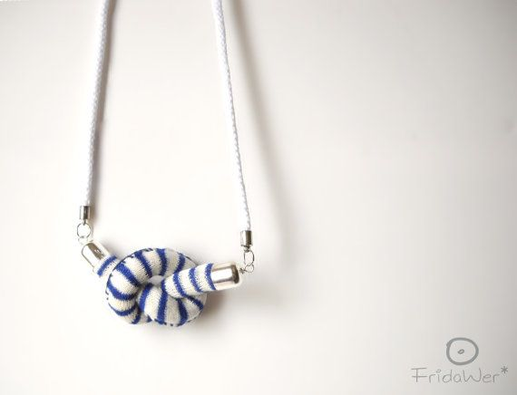 Knot-Long Necklace sautoir in cotton with dark blue by FridaWer