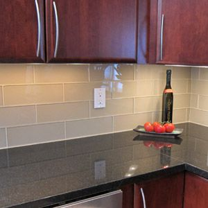 glass subway tile kitchen backsplash | Kitchen backsplash and bathroom tile ideas with beige glass subway ...