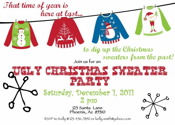 38 best images about Invitations for an Ugly Christmas Sweater – Ugly Sweater Party Invite
