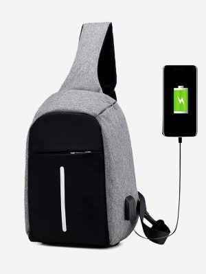 Color Block Earphone USB Charging Port Chest Bag - Gray