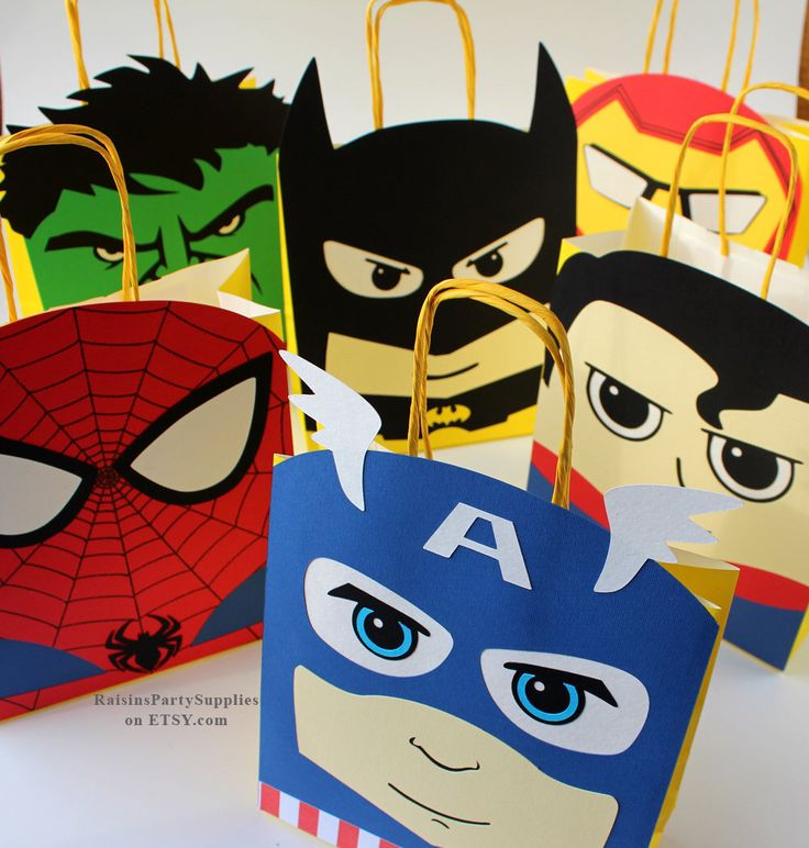 Superhero favor bags Superhero birthday party decorations for boy and girl party favors Super hero decorations Superhero first birthday 1st by RaisinsPartySupplies on Etsy https://www.etsy.com/listing/526932893/superhero-favor-bags-superhero-birthday