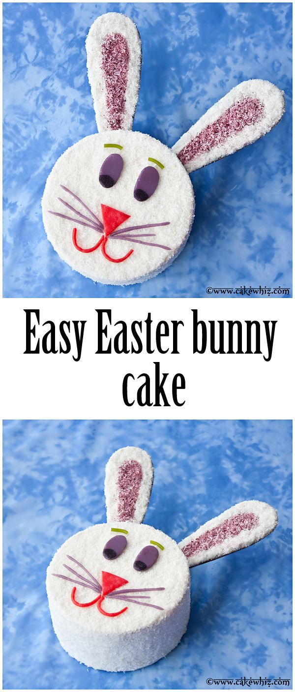 Easiest EASTER BUNNY CAKE ever... no fancy tools needed. My simple tutorial with step-by-step pictures will guide you along and even kids can help :) From cakewhiz.com