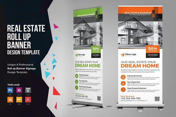 Real Estate Rollup Banner Signage V1 Rollup Banner Signage Design Brochure Design Template