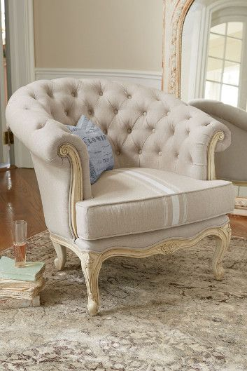 Trenet Bucket Chair - Linen Bucket Chair, French Style Bucket Chair   Soft Surroundings