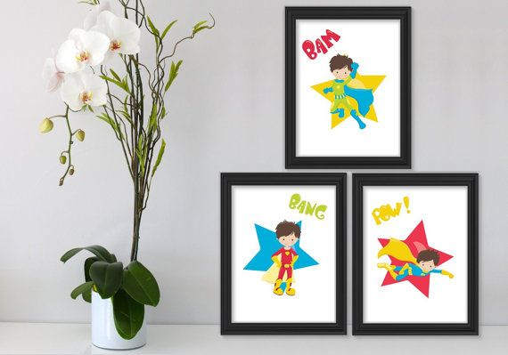 3 Printable Super Hero Boy Wall Art Printable Wall Art by Suselis