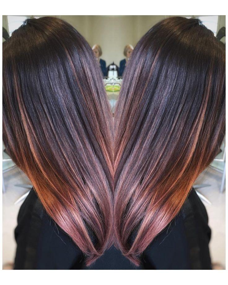 "41 Likes, 4 Comments - Hair Design Kata Näreaho (@hairdesign.kata) on Instagram: ""Hint of pink! #balayage #peilibrunettes #peilihiussali"""