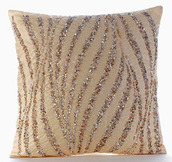 16 X16 Handmade Beige Throw For Sofa Art Silk Toss Cushion Cushions Abstract Pattern Modern Style Home Decor Cushion Cover Wave Of Gold Silk Throw Pillows Silk Pillow Cover Throw Pillows