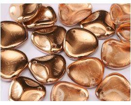 Rose Petals 14mm - Crystal Capri Gold (strand of 25)