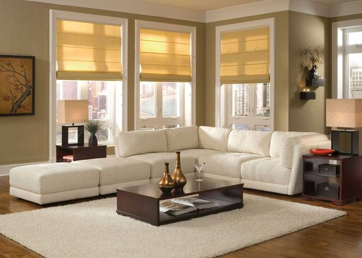 Living Room Interior Design For Small Spaces With White Velvet Sectionals Sofa And Low Profiles Dark