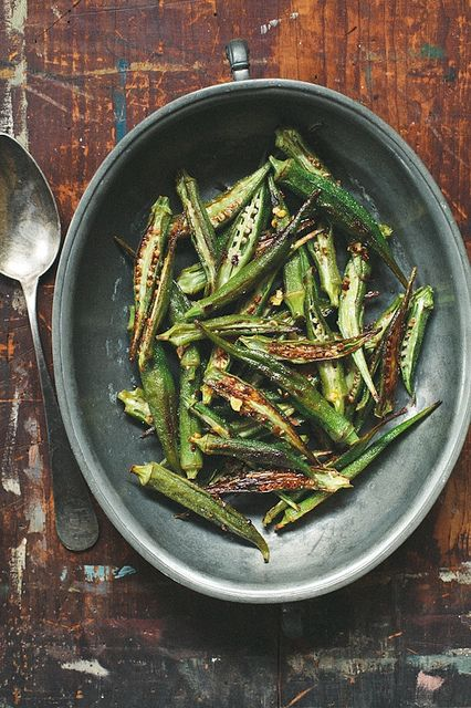 Roasted Okra with chili oil by tartelette