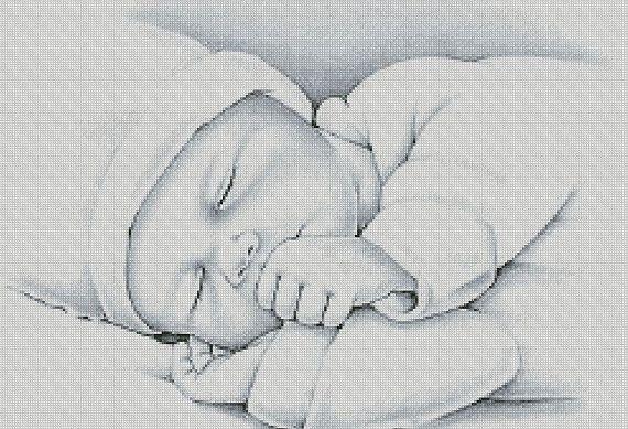 Cross Stitch Pattern ''Sleeping Child'' PDF by CFC14 on Etsy