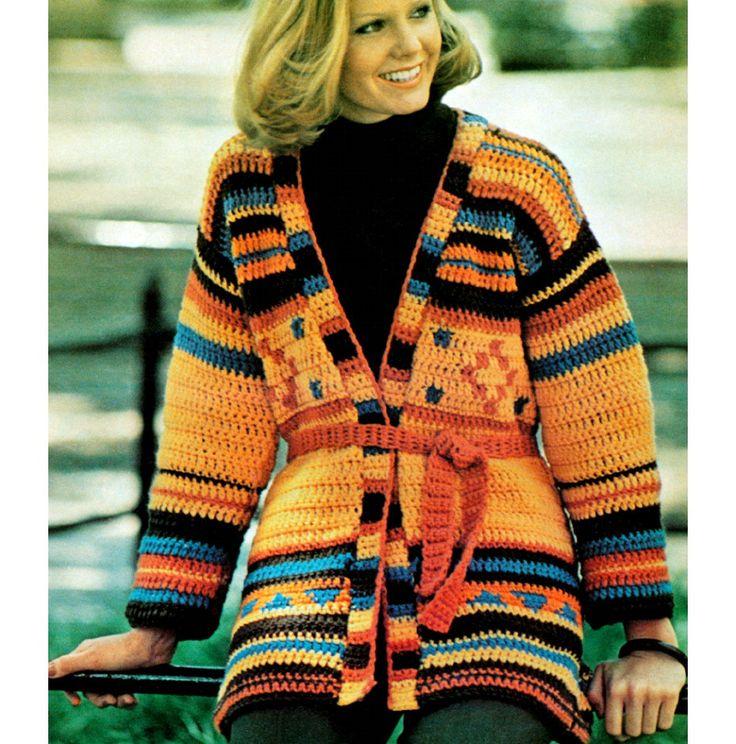 Crochet+Sweater+Patterns   Vintage Crochet Pattern 1970s Wrap Cardigan Boho Aztec Sweater PDF
