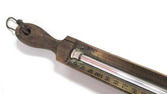 Wood & Brass Industrial Thermometer  Tulsa by UrbanRenewalDesigns, $23.00