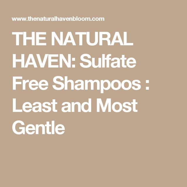 THE NATURAL HAVEN: Sulfate Free Shampoos : Least and Most Gentle