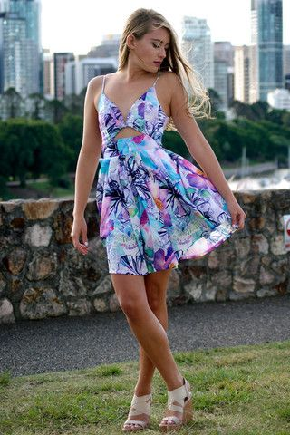Purple & Blue Festival Mini Dress with Playsuit Lining – Runway Goddess
