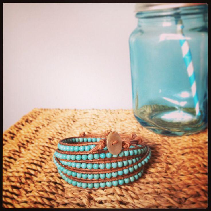 A gorgeous turquoise and tan wrap bracelet. #bracelet #wrapbracelet #turquoise #beads #leather www.facebook.com/somethingalittlebitdiffeRnt
