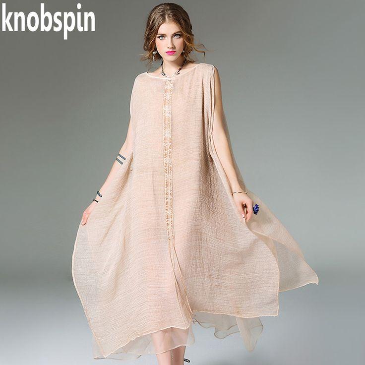 Knobspin plus size Loose dress women 2017 Summer new Solid long dresses vestidos Elegant short sleeve O-neck Boho style robe