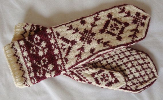 Fair Isle Mittens Off White and Dark Red by DesignsByChristianna, $75.00