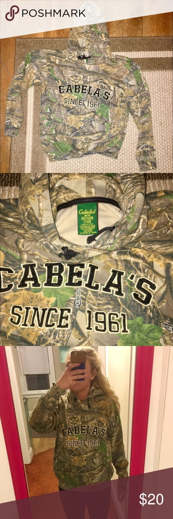 Camo Hoodie Camouflage hoodie from Cabelas. Worn only a few times, still in nice condition and very warm! Cabela's Tops Sweatshirts & Hoodies