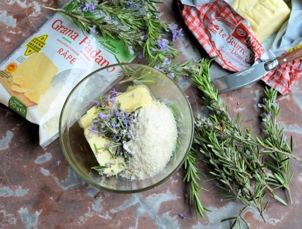 Lavender and Lovage   Floral and Flavoured Butter: Rosemary Flower Butter with Grana Padano Cheese   http://www.lavenderandlovage.com