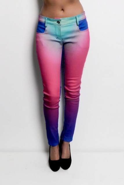 ombre colored jeans.... love the combinations of all the colors