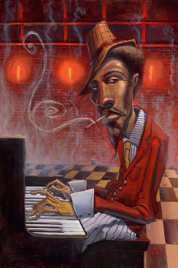 Jazz in Red Minor by BUA - Original in Private Collection - #ART #JAZZ #MUSIC
