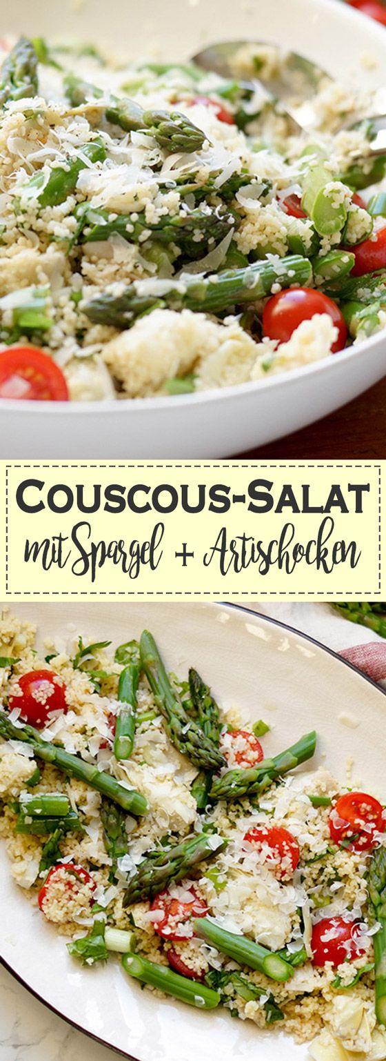 leckeren Couscous-Salat mit Spargel einverleiben. Knackiger Spargel mit marinierten Artischockenherzen und dazu süße Cherry-Tomaten und Lauchzwiebeln passen hervorragend zu einem leichten, lockeren Couscous. Für das perfekte Aroma habe ich noch frischen Basilikum und Zitronensaft dazu gegeben. Grüner Spargel, Vegetarisch, Vegan