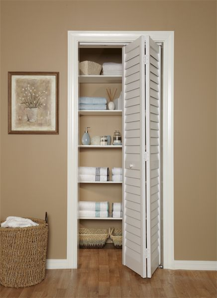 3 Quot Louver Louver Bi Fold Door In Linen Closet Gives Your Home A Custom Look Cleans Easily