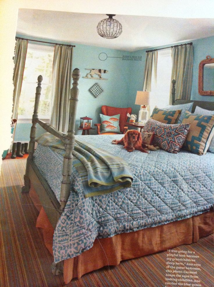 Great Bedroom Robin S Egg Blue Paint By Ben Moore Bhg Magazine