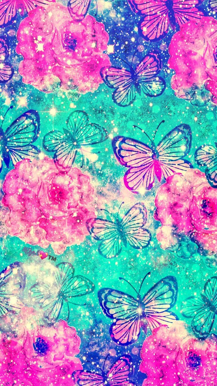 Glitter Turquoise Hd Wallpaper Android | Butterfly ...