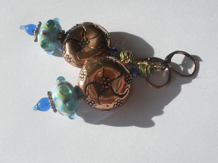 Lampwork and bali style copper, artisan earrings, SRA artist, lampwork jewelry, dangle & drop earrings, artisan earrings, art glass jewelry by ArtandSoulStudios on Etsy