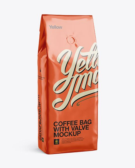 Foil Coffee Bag With Valve Mockup - Half-Turned View