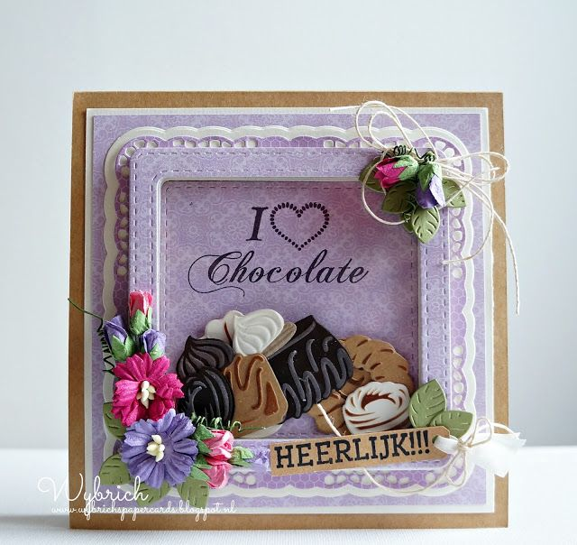 Shaker card by DT member Wybrich with Collectables Chocolate Doesn't Ask (COL1365), Chocolate is the Answer (COL1366), Box of Chocolates (COL1367), Craftables Basic Passe Partout - Square (CR1359), Creatables Build-a-Rose (LR0398) and Lace Doily (LR0415) from Marianne Design