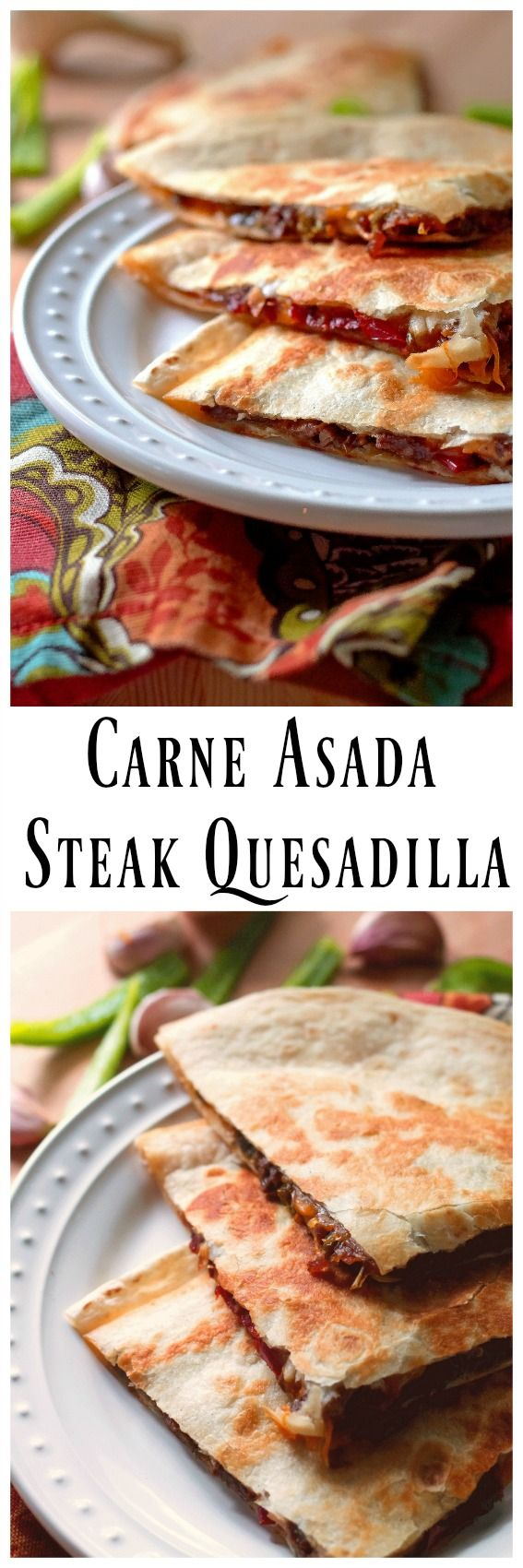 Carne Asada Steak Quesadilla has a steak , pepper and onion filling that is marinaded in a delicious concoction of flavors. This flavor infused filling combined with melted cheddar cheese on a crispy tortilla is CRAZY GOOD! via @https://www.pinterest.com/BunnysWarmOven/bunnys-warm-oven/