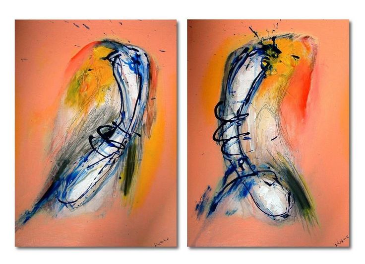 """Killers at the sundown (Malerei),  80x110 cm von arno signarowski """"killers at the sundown"""", 2015 110 x 90 cm, 2 paintings acryl, holz / hartfaser"""