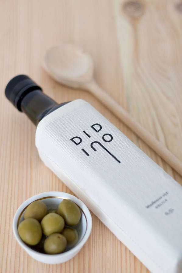 Bagged Bottle Branding - Didino Olive Oil Packaging References the Harvest of the Pitted Fruit (GALLERY)
