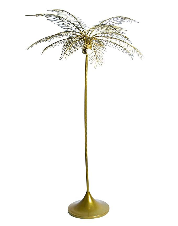 Amazon Com Al Basitu Palm Tree Standing Lamp Plant Shaped Floor Light In Golden Finish Study Lamp With Led Light Fi In 2020 Tropical Lamp Study Lamps Standing Lamp
