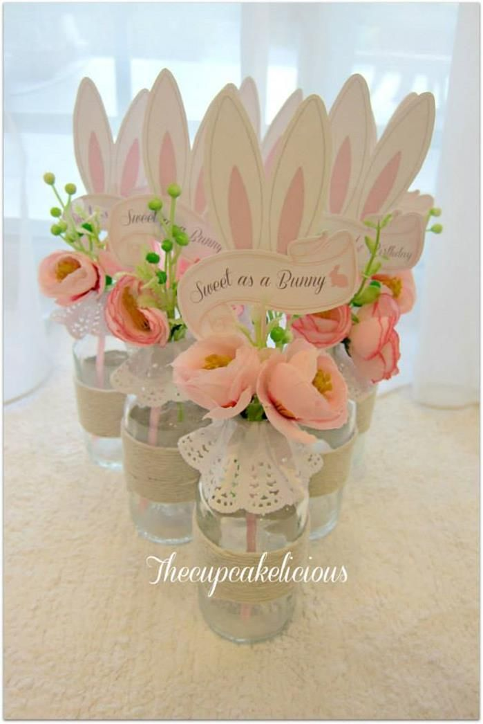 Shabby Chic Bunny Themed 1st Birthday Party with SUCH CUTE IDEAS via Kara's Party Ideas | KarasPartyIdeas.com