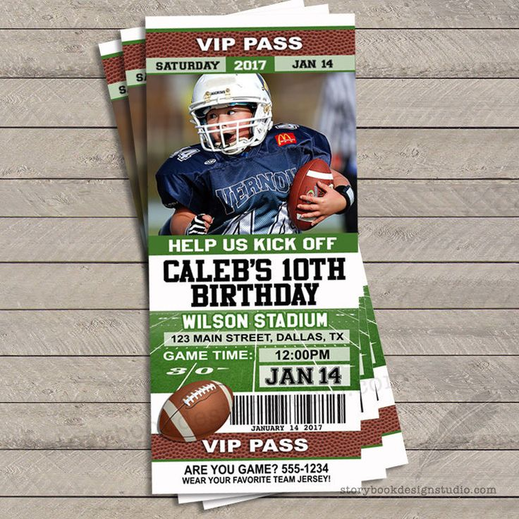 Football Ticket Birthday Party Invitations / Printed Set of 10