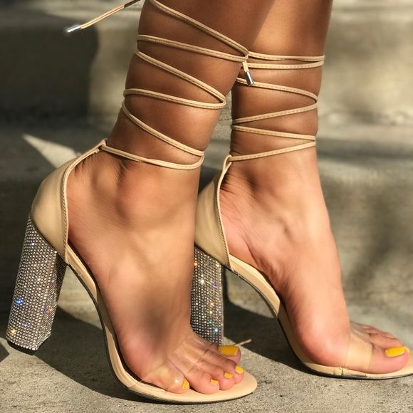 "b71dfa81edfc NEW ARRIVAL ✨✨4"" Thick Diamond Nude Heels 4"" heels"