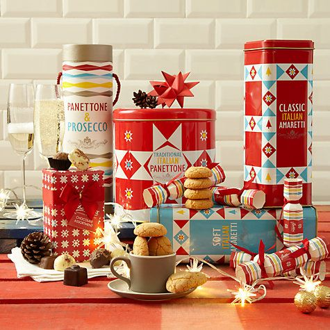 Italian Christmas classic desserts -- Panettone and Amaretti -- adorable packaging