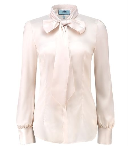 Women's Cream Fitted Satin Blouse - Pussy Bow