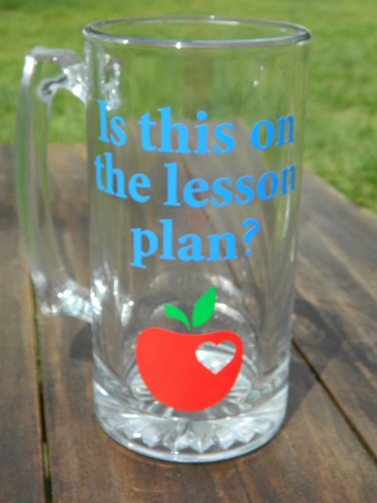 """Male teacher gift """"Is this on the lesson plan?"""" Large Beer MUG with Vinyl decals! Heart Apple! by DesignsbyJulieBug on Etsy https://www.etsy.com/listing/226086095/male-teacher-gift-is-this-on-the-lesson"""