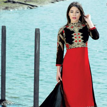 Red and Black Faux Georgette Abaya Style Churidar Kameez