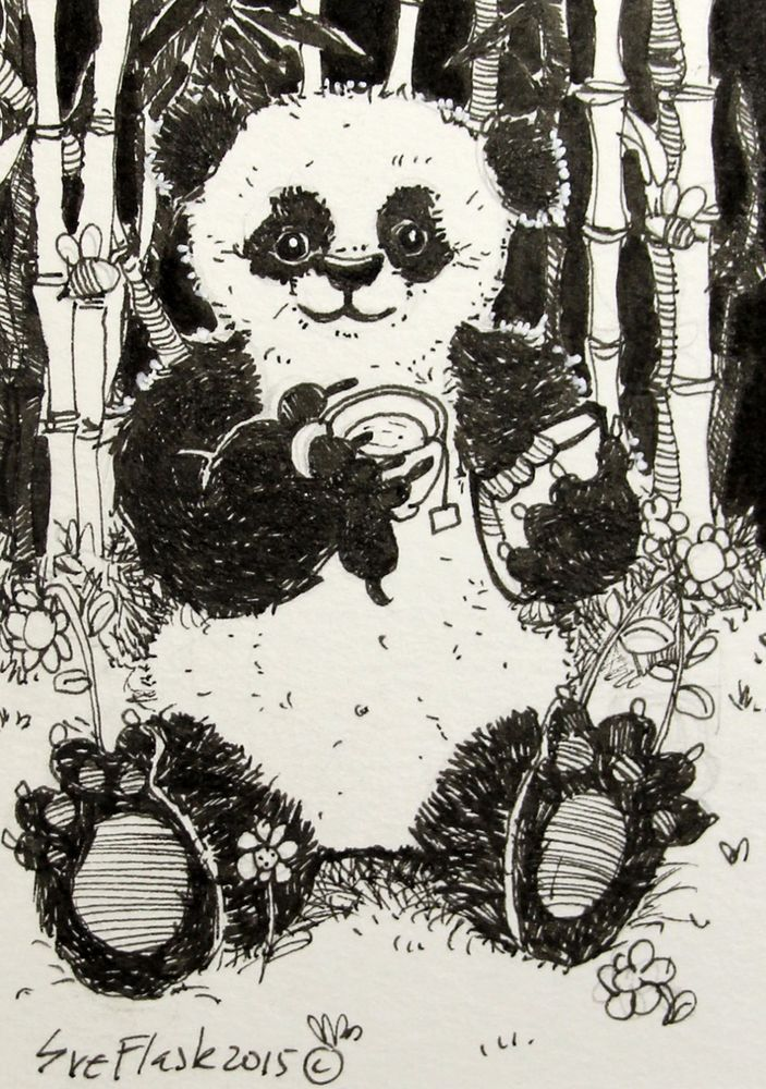 ACEO Original Pen Drawing Line Black Art Black & White Panda for Tea Sue Flask #Miniature