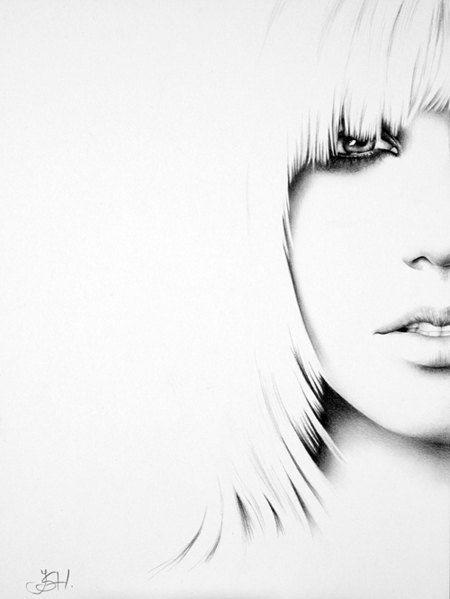 Britney Spears Minimalism Pencil Drawing Fine Art by IleanaHunter, $14.99