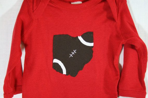 State of Ohio FOOTBALL Baby bodysuit Ohio Football by twinzzshop, $24.00