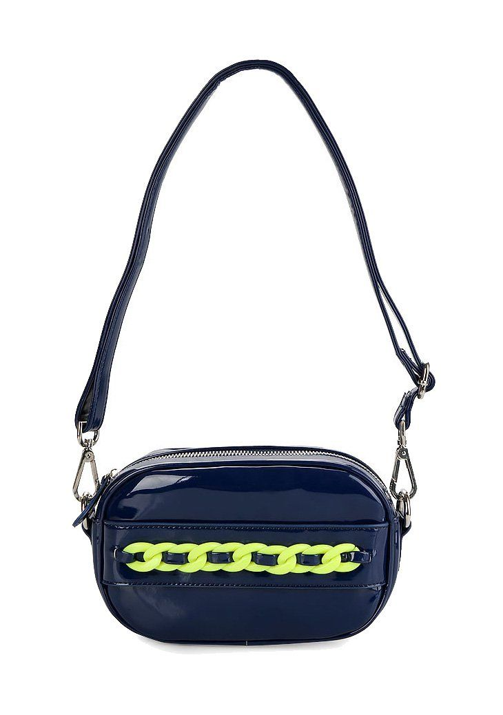 Susan Glossy Pouch by Nila Anthony. Navy blue with a glossy material pouch, with a combination of electric green chain, one main compartment, zipper closure, cute bag to carry your small thing and phone everywhere you go.   http://www.zocko.com/z/JFr4G